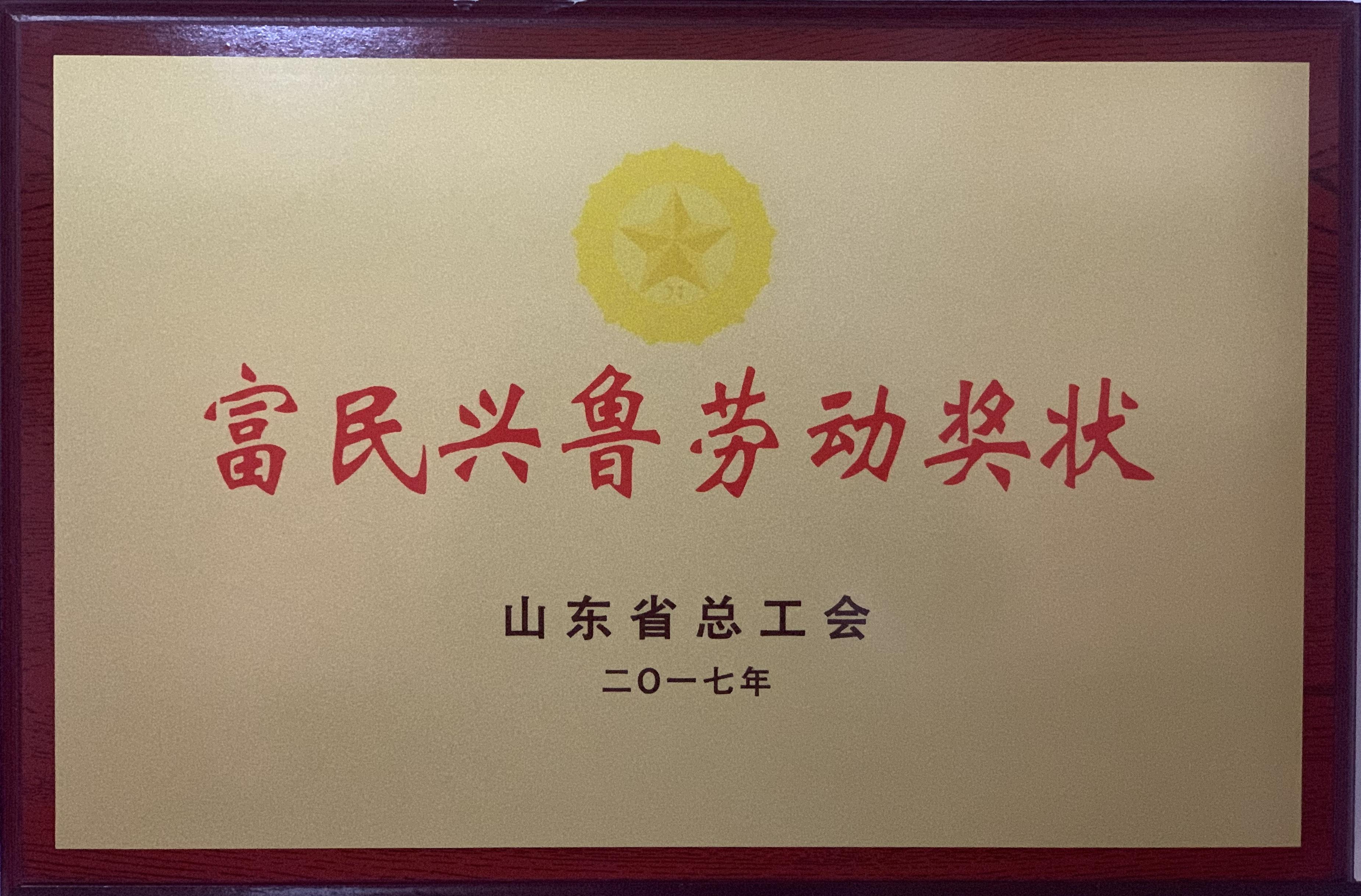 济宁四和供热有限公司荣获山东省总工会富民兴鲁劳动奖状
